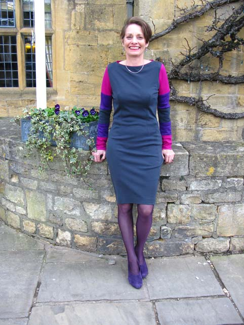 Alice outside the Lygon Arms in an Alice & Co wool jersey dress