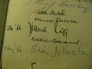 Page from the visitors book at the Lygon Arms Hotel with Diana Rigg signiture