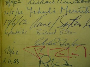 Page from the visitors book at the Lygon Arms Hotel with Richard Burton and Elizabeth Taylor signiture