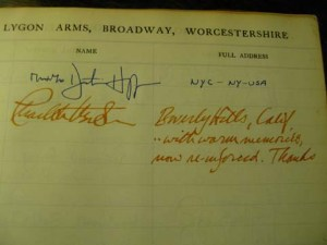 Page from the visitors book at the Lygon Arms Hotel with Mr and Mrs Dustin Hoffman signiture