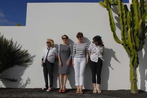 Picture of Mary, Alice, Marianne and Lilia in the garden of a Natural Retreats Villa in Playa Blance Lanzarote.