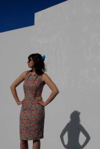 Lilia in an Alice & Co Liberty print stretch cottn and lycra dress
