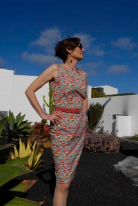 Alice in an Alice & Co Liberty print stretch dress in Playa Blanca Lanzarote