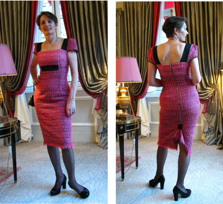 Alice in an Alice & Co cocktail dress made of pink and black Linton tweed and elastic