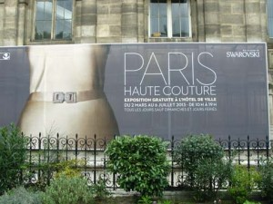 Poster of paris Haute Couture exhibition outside the Hotel de Ville Paris
