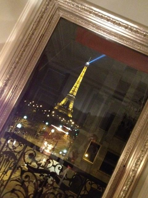 The Eiffel Tower seen from the window of the Plaza Athénée Hotel