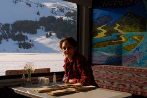 picture of Alice having breakfast on the Alaska Railroad Costal Classic train