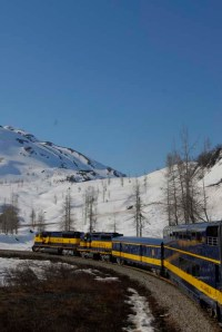 Picture of the Alaskan Classic Costal Classic train en route from Anchorage to Seward
