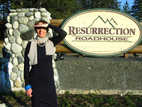 Picture of Alice wearing Alice & Co outside the Resurrection Hotel Seward Alaska
