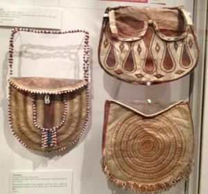 picture of three leather handbags made by Native Alaskans from Anchorage Museum