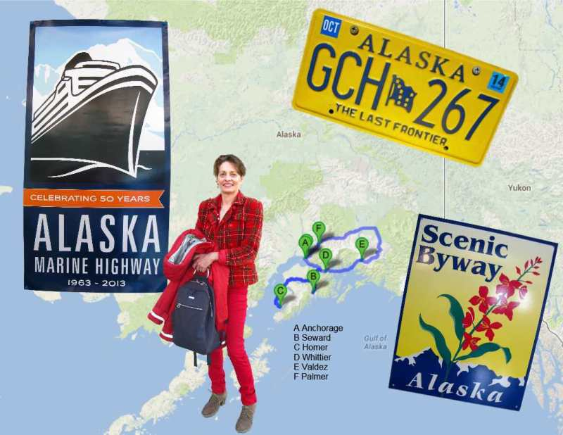 map of my road trip round southern Alaska