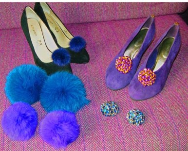 picture of fur pom poms and cyrstal shoe accessories by Cleo B
