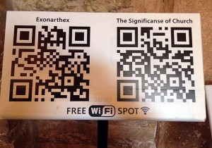Free Wi Fi sign in the Chora Church Museum