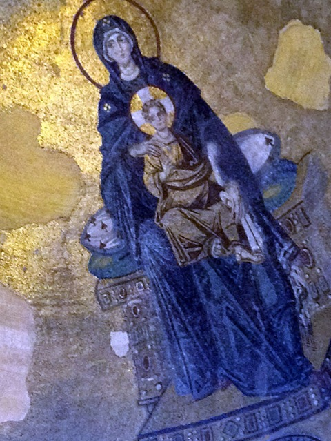 Mosaic from Virgin and child Hagia Sopia