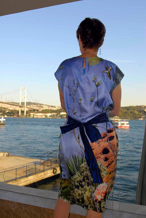 An Alice & Co silk dress looking over the Bosphoros