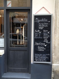 Doorway of L'Etre Ange boutique in the Marais Paris