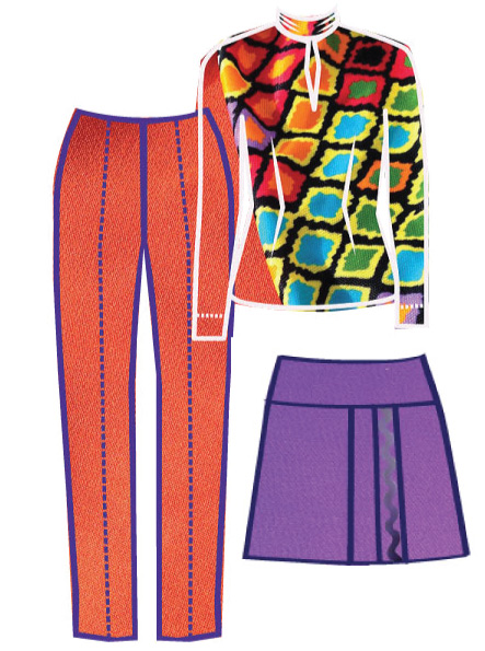 Alice & Co designs for orange wool trousers, silk top and purple wool skirt