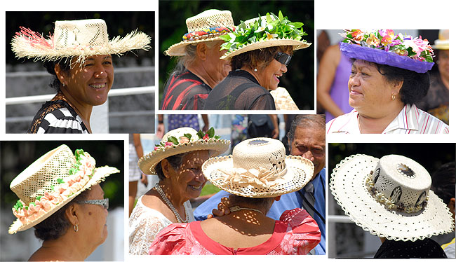 Church goers in hats Rarotonga