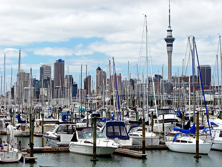 View od Auckland New Zealand from the Harbour