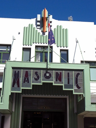 Tha Masonoc Hall Aet  Deco facade Napier New Zealand