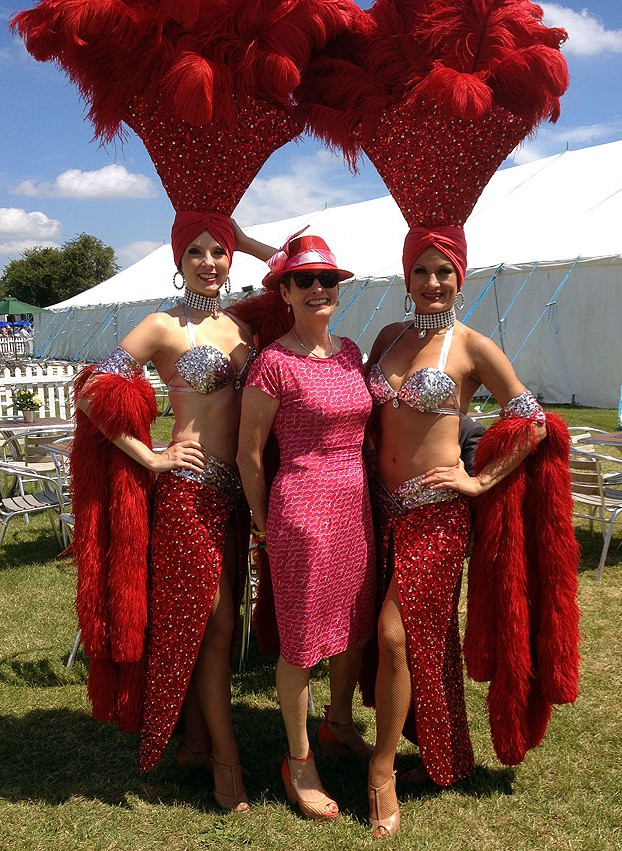 Alice with sequinned showgirls at Henley Royal Regatta