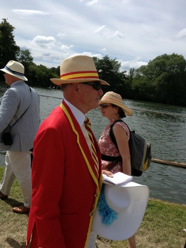 Man in a panama hat and red blazer at the Henley Royal Regatta