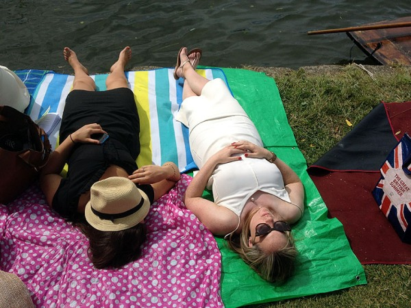 sunbathers at the Henley Roral Regatta