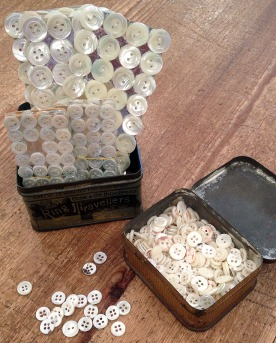 pearl buttons at the Cloth House fabric shop Soho London