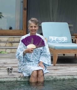 Alice relaxing in kimono Nihiwatu Sumba Indonesia