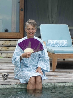 Alice relaxing in kimono Nihiwatu Sumba Indonesia