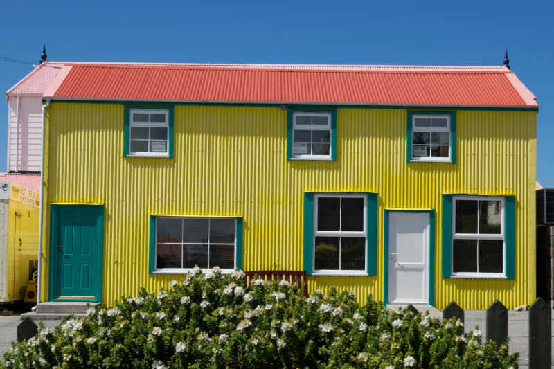 Corrugated colourful house in Stanley, Falklands