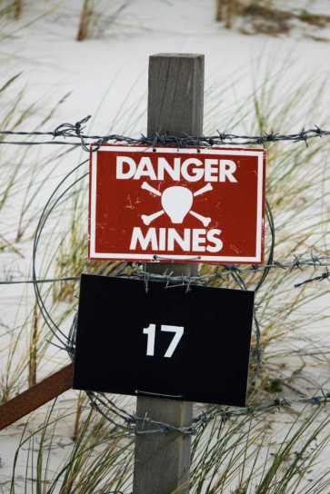 Danger mines Falkland Island beach