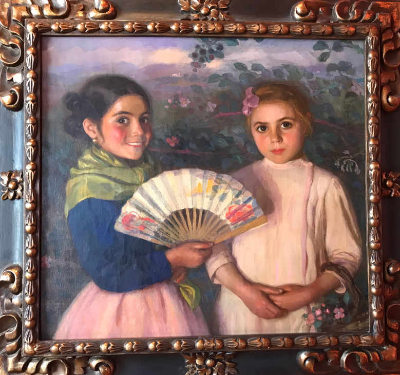 PAINTING OF TWO CHILEAN CHILDREN IN THE PALACIO BABURIZZA VALPARISO